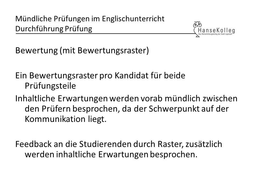 Mündliche Prüfungen im Englischunterricht Durchführung Prüfung