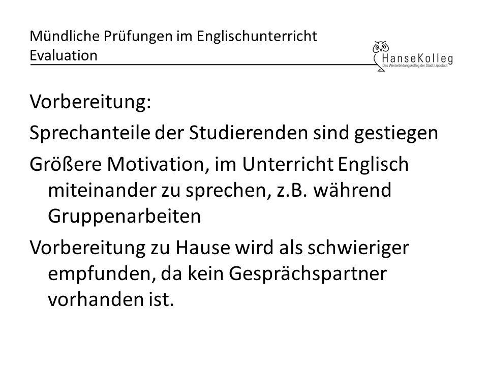 Mündliche Prüfungen im Englischunterricht Evaluation