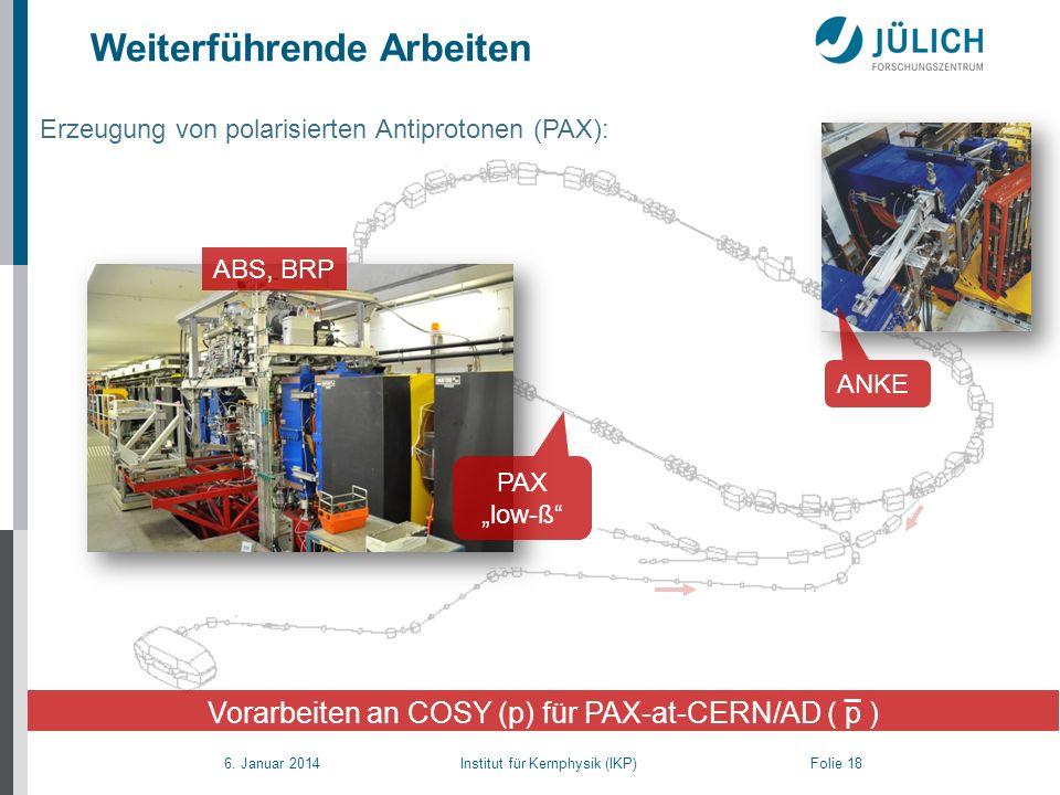 Vorarbeiten an COSY (p) für PAX-at-CERN/AD ( p )
