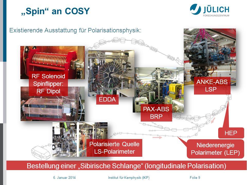 """""""Spin an COSY Existierende Ausstattung für Polarisationsphysik: RF Solenoid. Spinflipper: RF Dipol."""