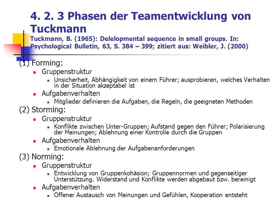 4. 2. 3 Phasen der Teamentwicklung von Tuckmann Tuckmann, B