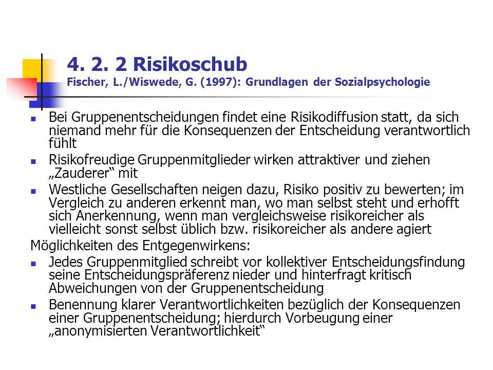 4. 2. 2 Risikoschub Fischer, L. /Wiswede, G