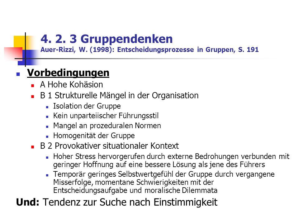 4. 2. 3 Gruppendenken Auer-Rizzi, W