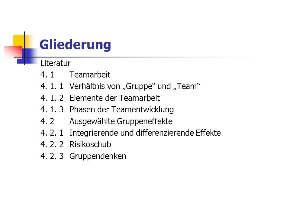 Gliederung Literatur 4. 1 Teamarbeit