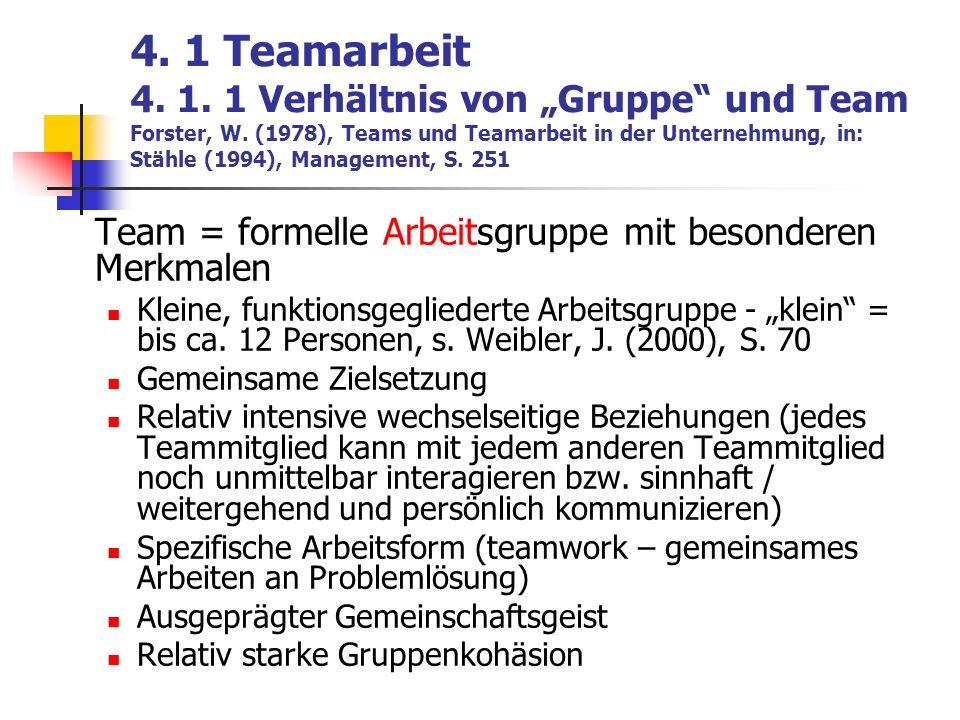 """4. 1 Teamarbeit 4. 1. 1 Verhältnis von """"Gruppe und Team Forster, W"""