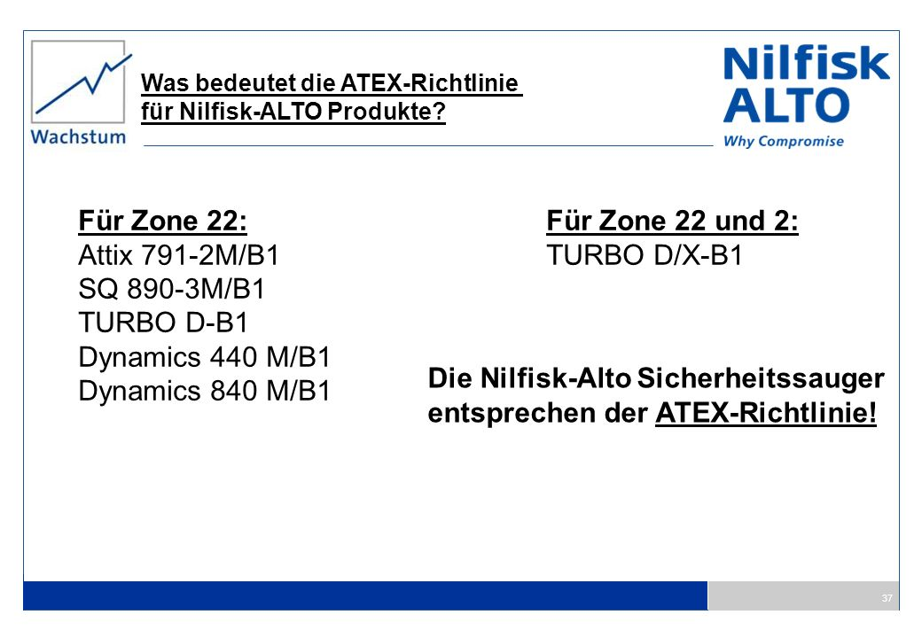 Die Nilfisk-Alto Sicherheitssauger entsprechen der ATEX-Richtlinie!