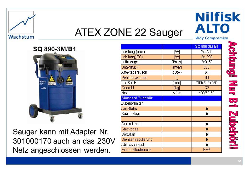 ATEX ZONE 22 Sauger Achtung! Nur B1 Zubehör!!