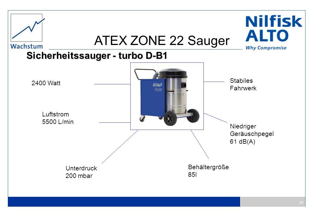 ATEX ZONE 22 Sauger Sicherheitssauger - turbo D-B1 Stabiles 2400 Watt