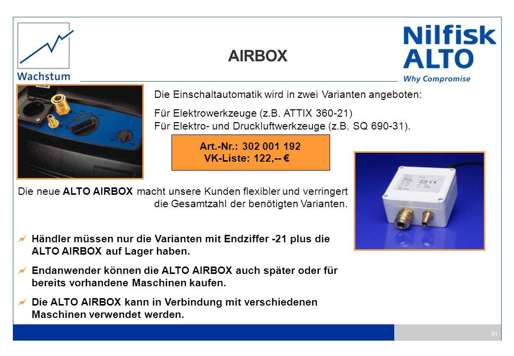 AIRBOX Die Einschaltautomatik wird in zwei Varianten angeboten: