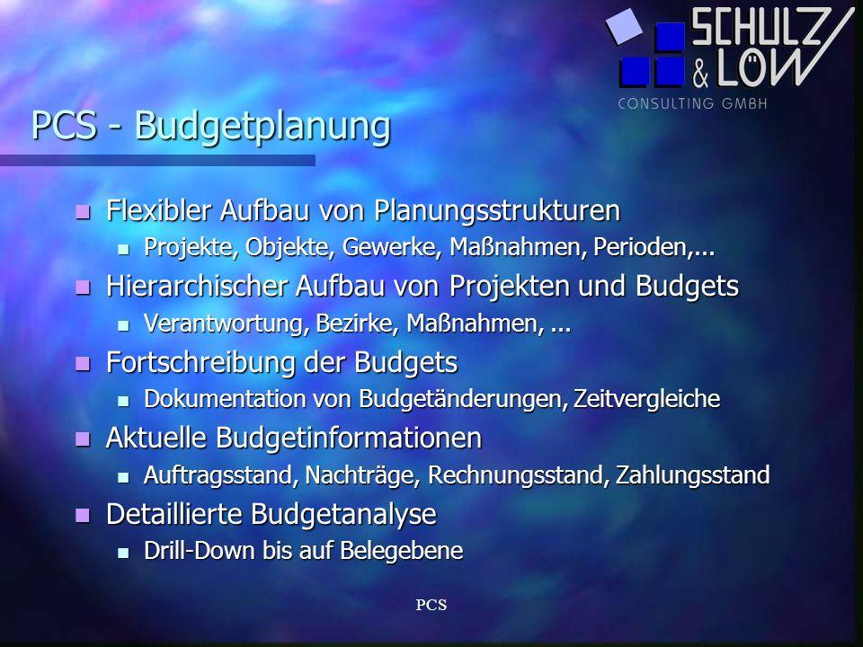 PCS - Budgetplanung Flexibler Aufbau von Planungsstrukturen