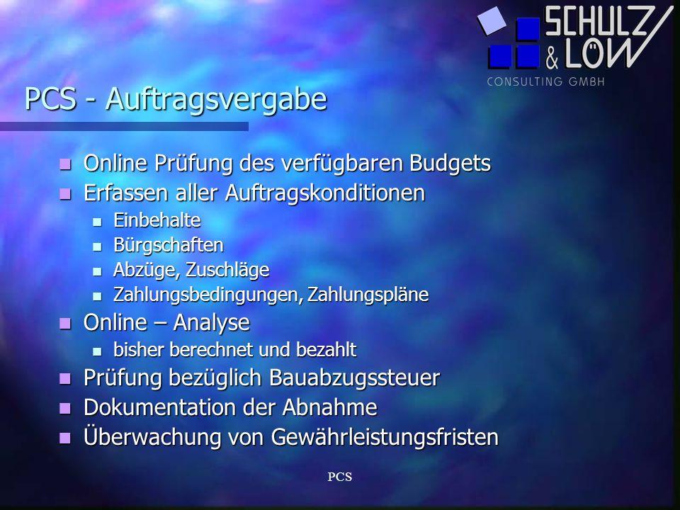PCS - Auftragsvergabe Online Prüfung des verfügbaren Budgets
