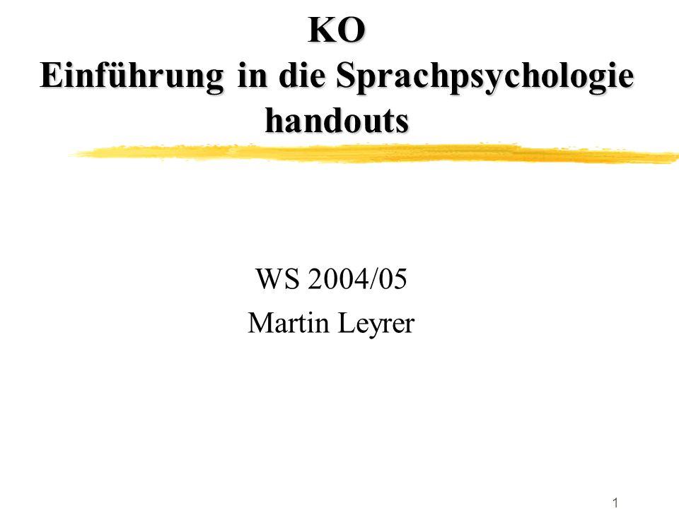 KO Einführung in die Sprachpsychologie handouts