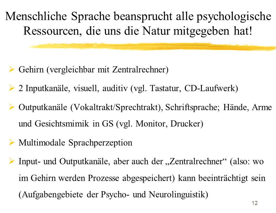 Menschliche Sprache beansprucht alle psychologische Ressourcen, die uns die Natur mitgegeben hat!