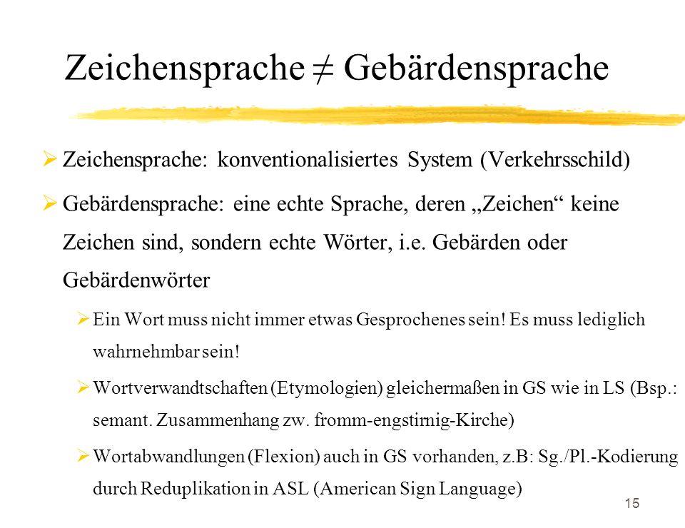 Zeichensprache ≠ Gebärdensprache