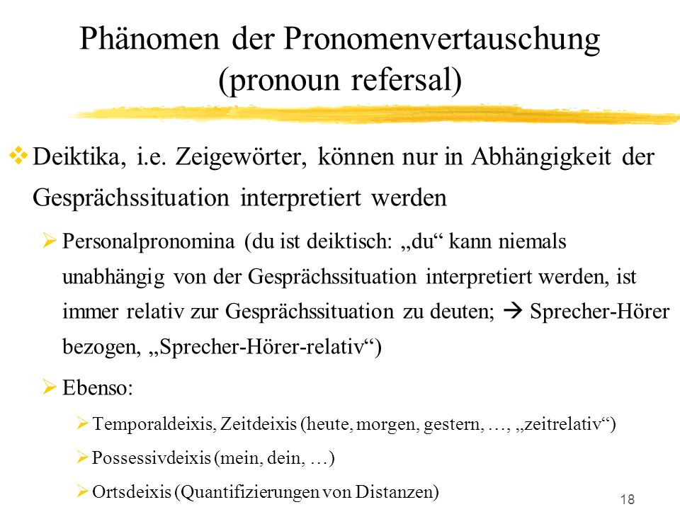 Phänomen der Pronomenvertauschung (pronoun refersal)
