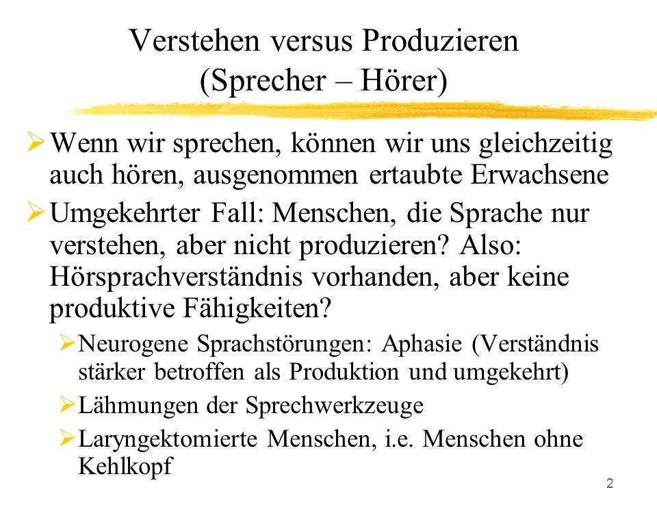 Verstehen versus Produzieren (Sprecher – Hörer)