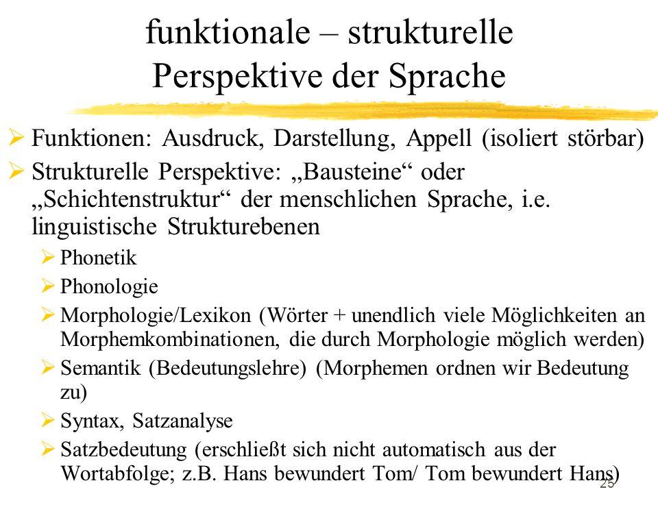 funktionale – strukturelle Perspektive der Sprache