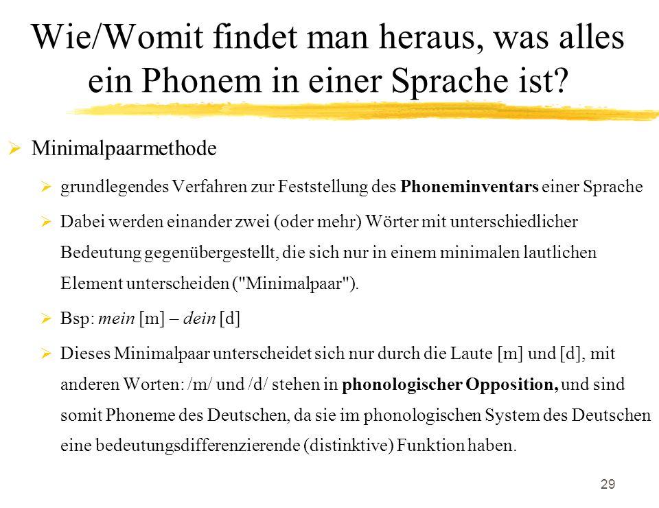 Wie/Womit findet man heraus, was alles ein Phonem in einer Sprache ist