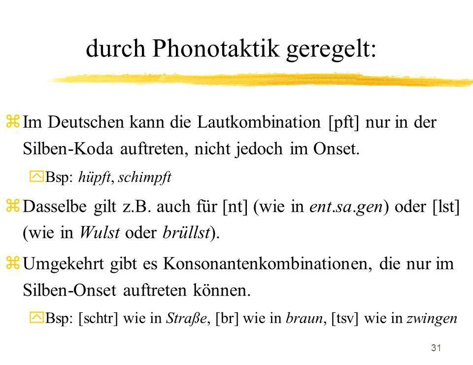durch Phonotaktik geregelt: