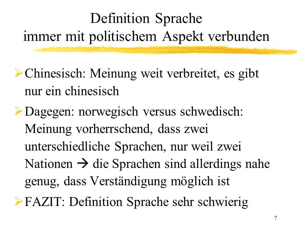 Definition Sprache immer mit politischem Aspekt verbunden