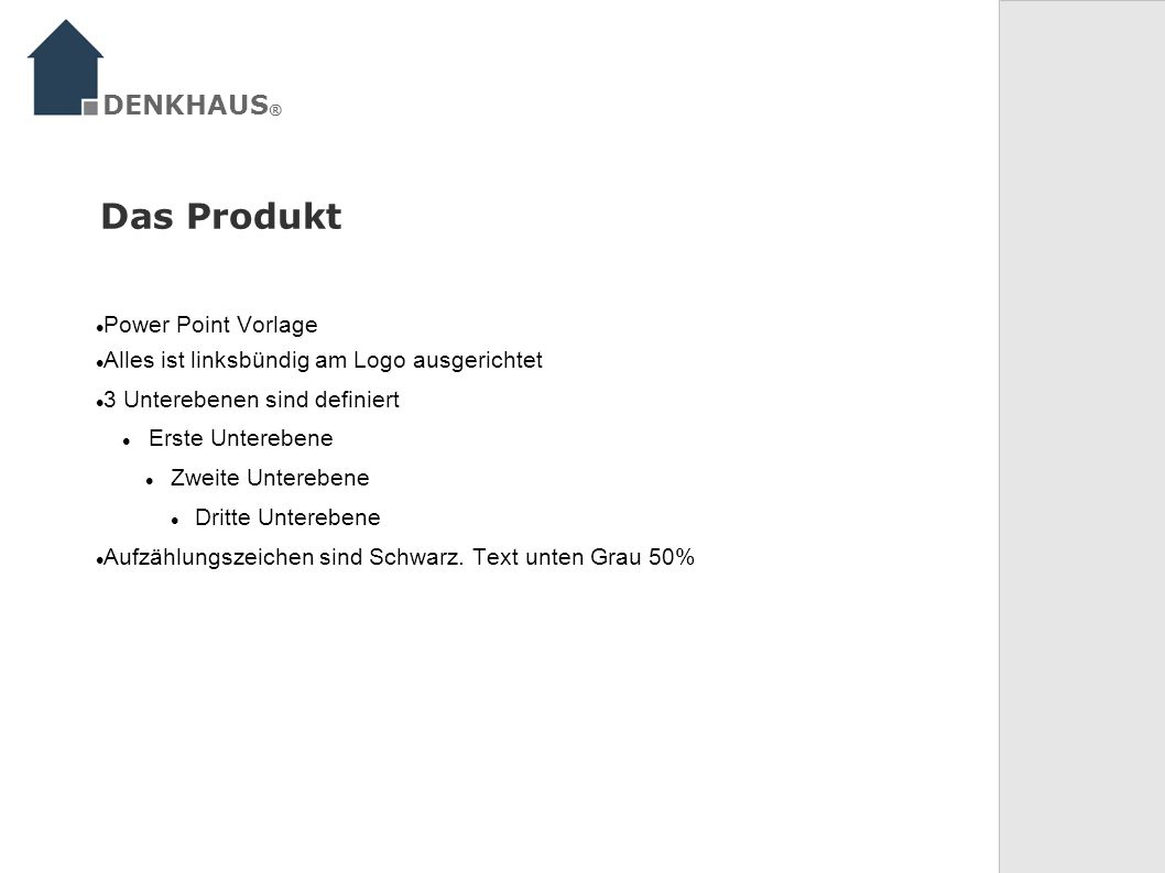 Das Produkt DENKHAUS® Power Point Vorlage