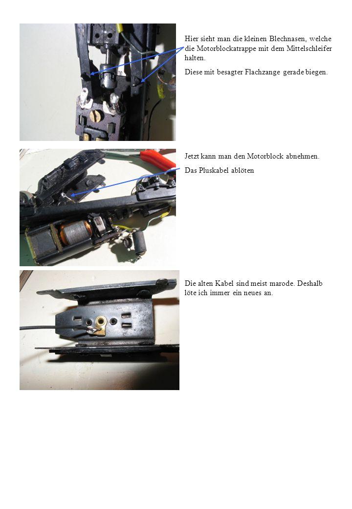 Hier sieht man die kleinen Blechnasen, welche die Motorblockatrappe mit dem Mittelschleifer halten.