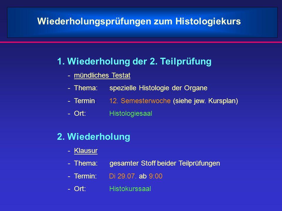 Wiederholungsprüfungen zum Histologiekurs
