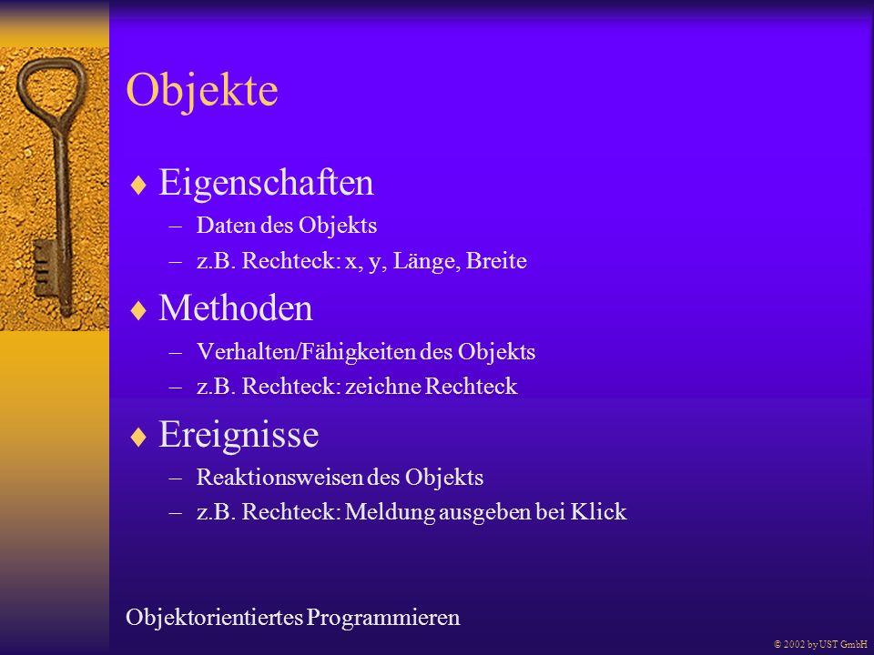 Objekte Eigenschaften Methoden Ereignisse Daten des Objekts