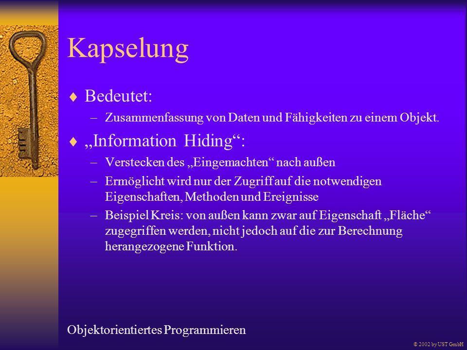 """Kapselung Bedeutet: """"Information Hiding :"""