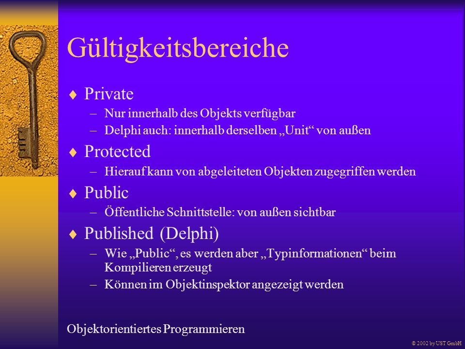 Gültigkeitsbereiche Private Protected Public Published (Delphi)
