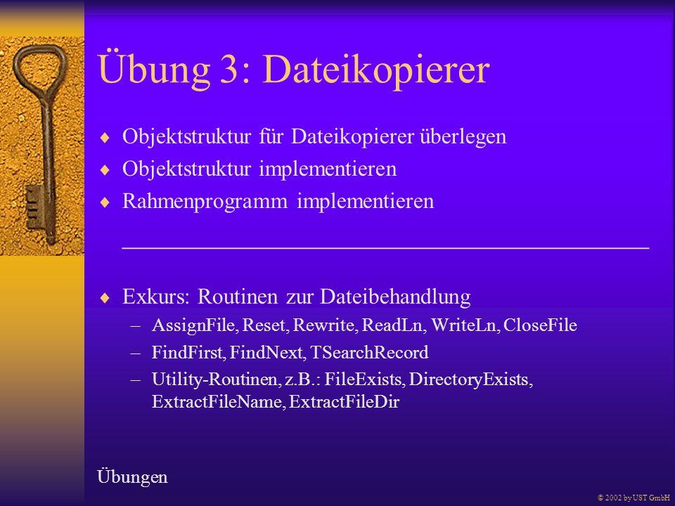 Übung 3: Dateikopierer Objektstruktur für Dateikopierer überlegen