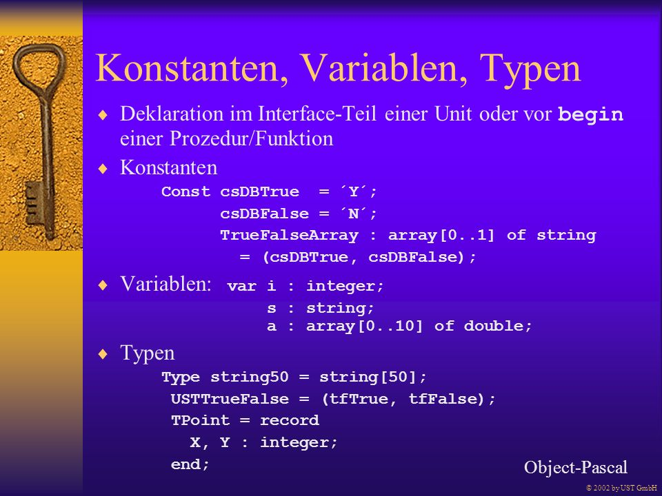 Konstanten, Variablen, Typen