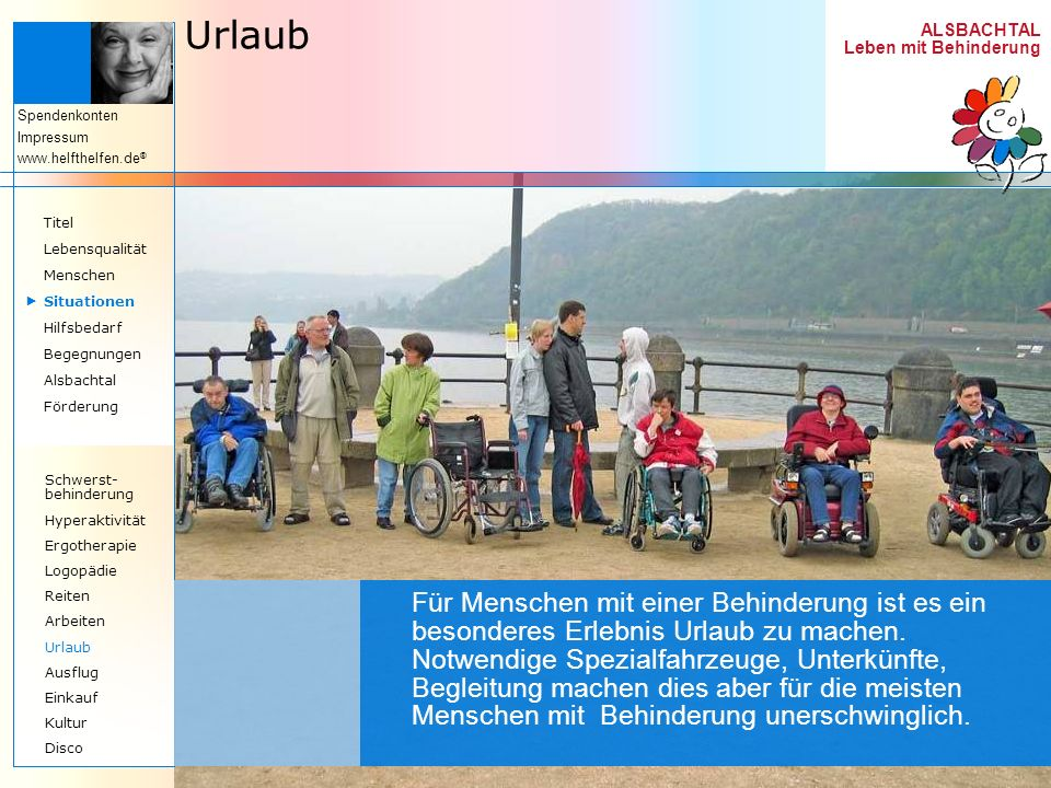 UrlaubTitel. Lebensqualität. Menschen.  Situationen. Hilfsbedarf. Begegnungen. Alsbachtal. Förderung.