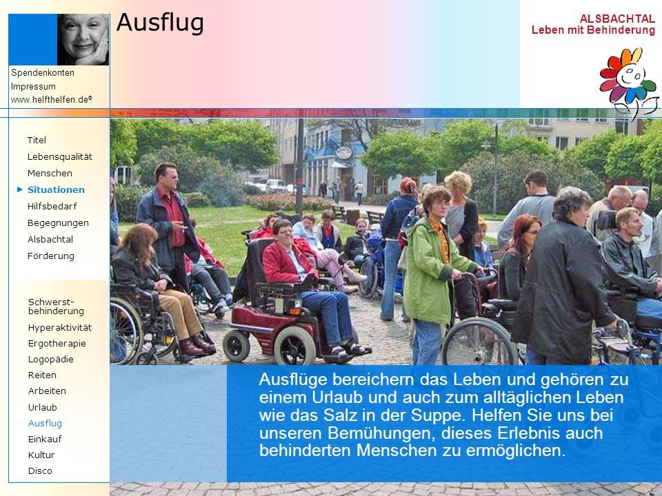AusflugTitel. Lebensqualität. Menschen.  Situationen. Hilfsbedarf. Begegnungen. Alsbachtal. Förderung.