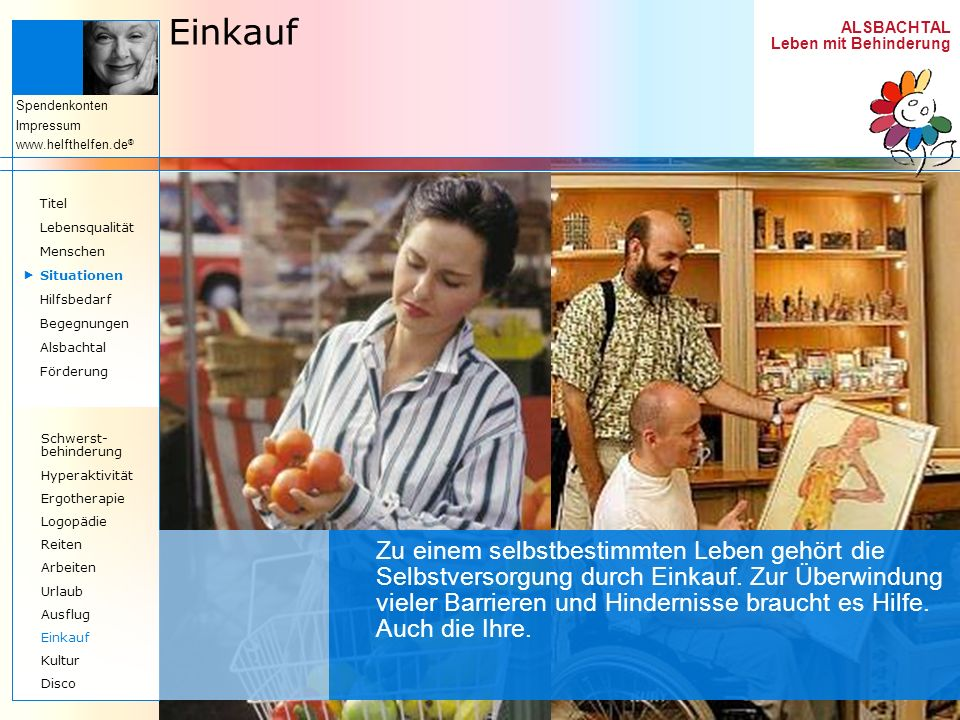 Einkauf Titel. Lebensqualität. Menschen.  Situationen. Hilfsbedarf. Begegnungen. Alsbachtal.