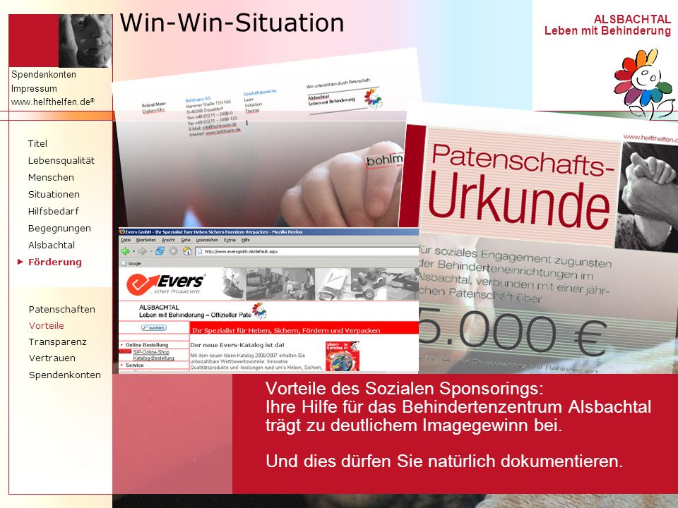 Win-Win-SituationTitel. Lebensqualität. Menschen. Situationen. Hilfsbedarf. Begegnungen. Alsbachtal.