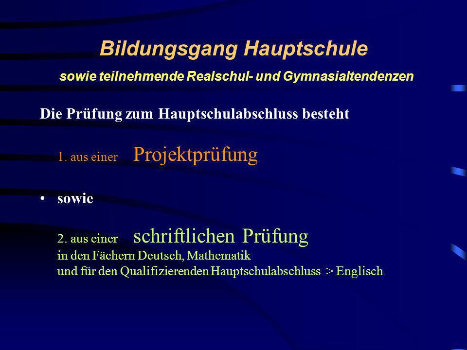Bildungsgang Hauptschule sowie teilnehmende Realschul- und Gymnasialtendenzen