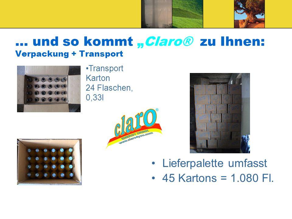 """… und so kommt """"Claro® zu Ihnen: Verpackung + Transport"""
