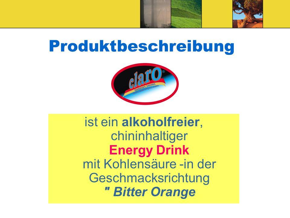 Produktbeschreibung ist ein alkoholfreier, chininhaltiger Energy Drink mit Kohlensäure -in der Geschmacksrichtung Bitter Orange.