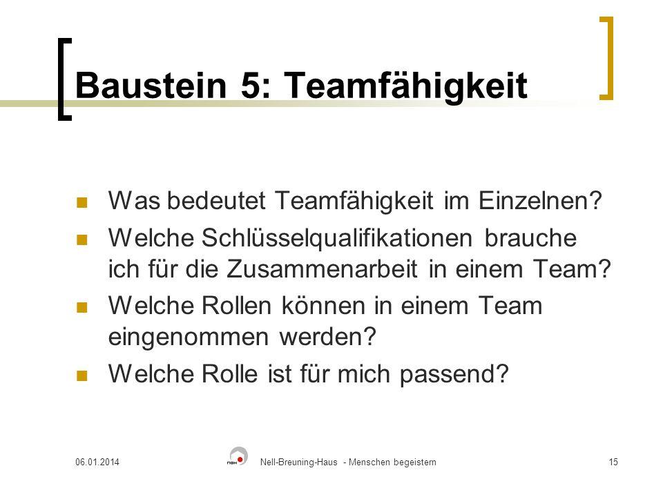 Baustein 5: Teamfähigkeit