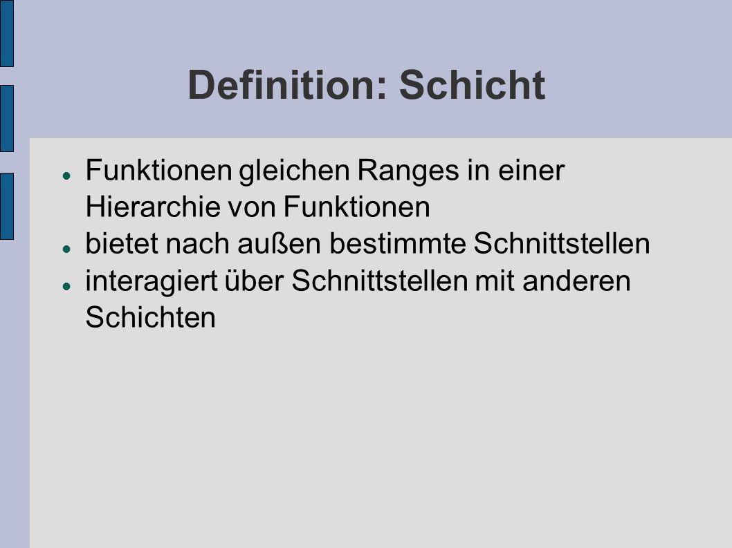 Definition: Schicht Funktionen gleichen Ranges in einer Hierarchie von Funktionen. bietet nach außen bestimmte Schnittstellen.