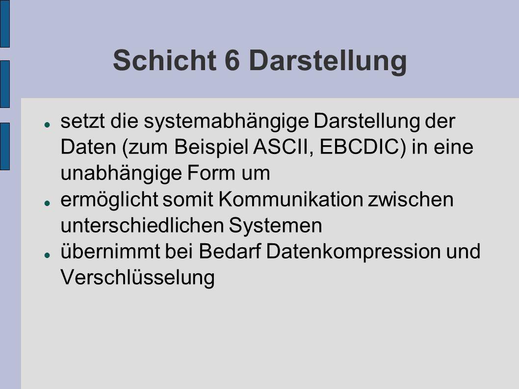 Schicht 6 Darstellung setzt die systemabhängige Darstellung der Daten (zum Beispiel ASCII, EBCDIC) in eine unabhängige Form um.