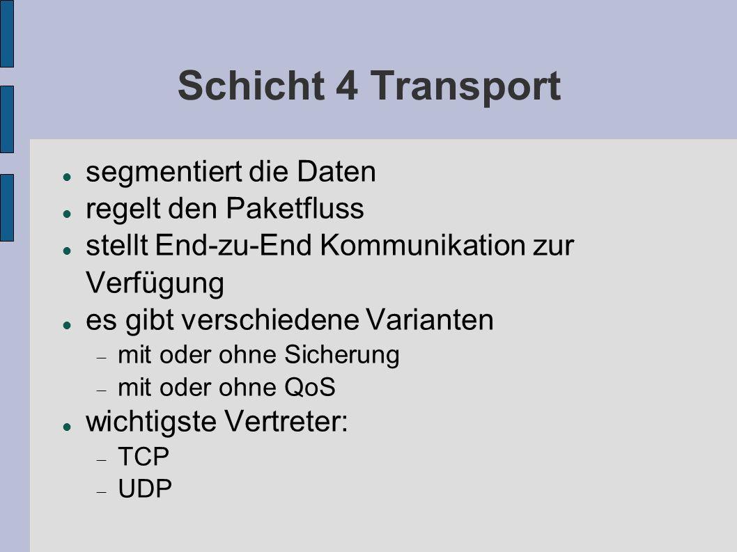 Schicht 4 Transport segmentiert die Daten regelt den Paketfluss