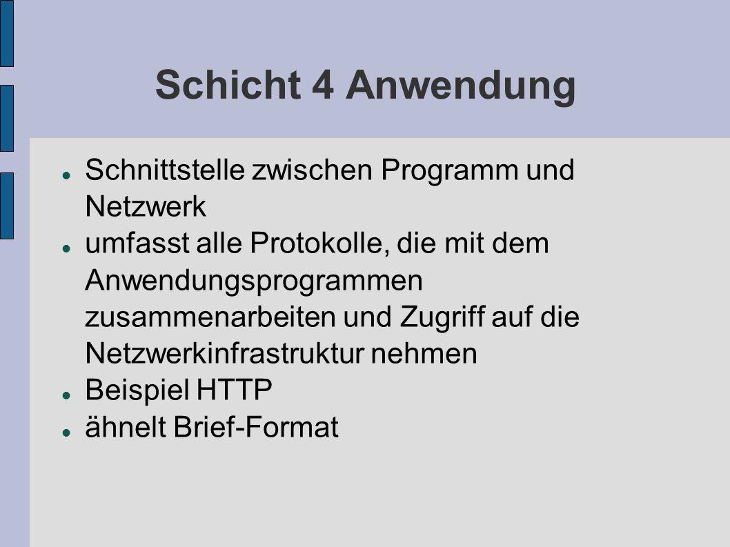 Schicht 4 Anwendung Schnittstelle zwischen Programm und Netzwerk