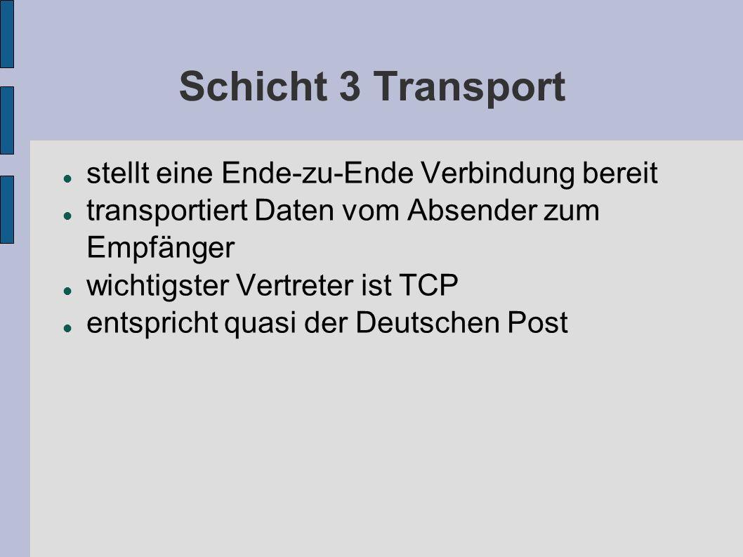Schicht 3 Transport stellt eine Ende-zu-Ende Verbindung bereit