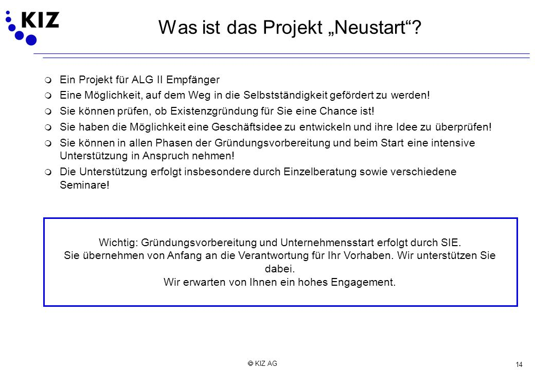 """Was ist das Projekt """"Neustart"""