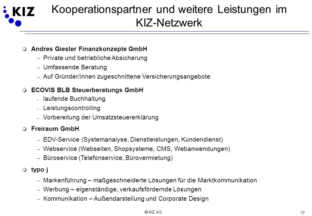 Kooperationspartner und weitere Leistungen im KIZ-Netzwerk