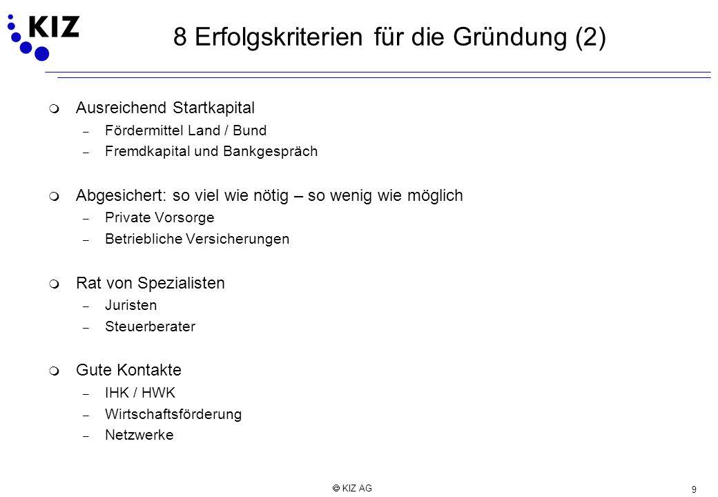 8 Erfolgskriterien für die Gründung (2)