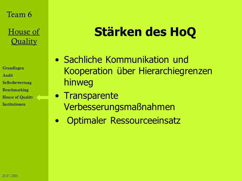 Stärken des HoQ Sachliche Kommunikation und Kooperation über Hierarchiegrenzen hinweg. Transparente Verbesserungsmaßnahmen.