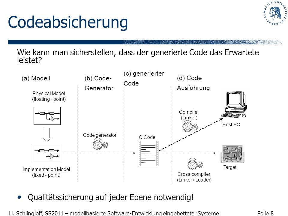 Codeabsicherung Wie kann man sicherstellen, dass der generierte Code das Erwartete leistet (c) generierter.